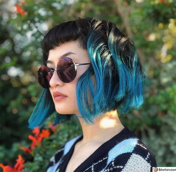 blue color for short hair