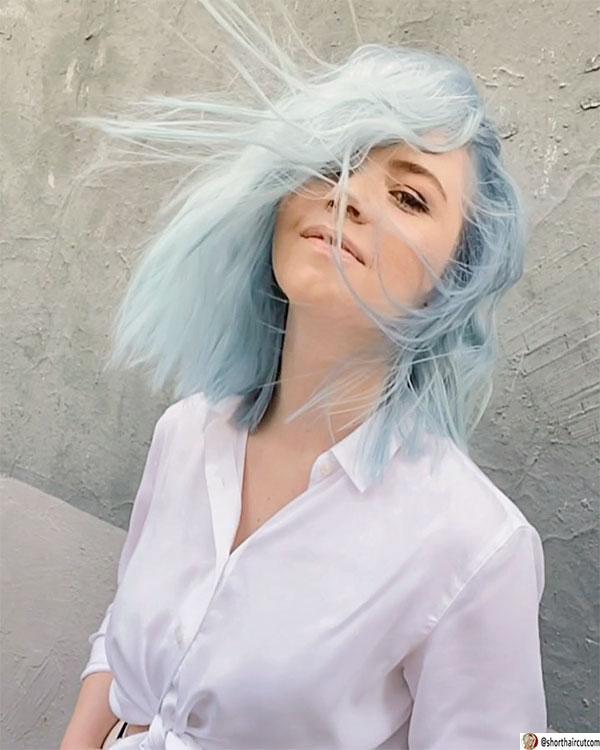 blue hair cut short