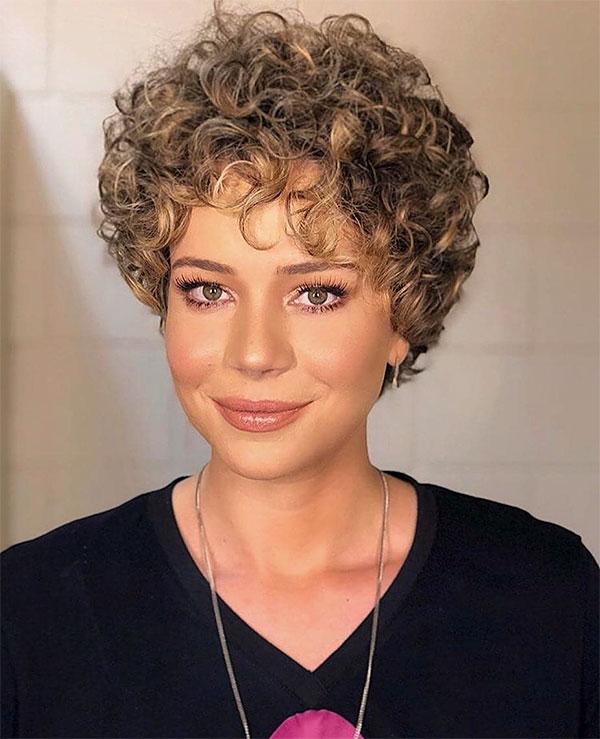 curly short hair female