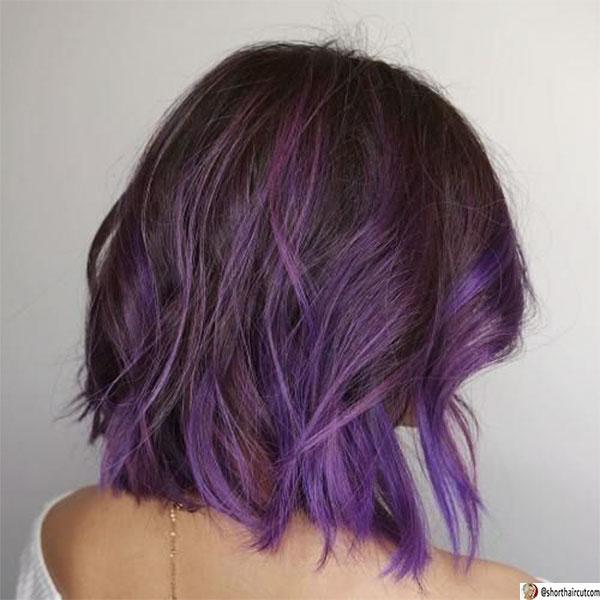 cute purple short hair