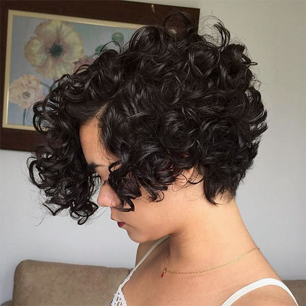 short curly hair with color