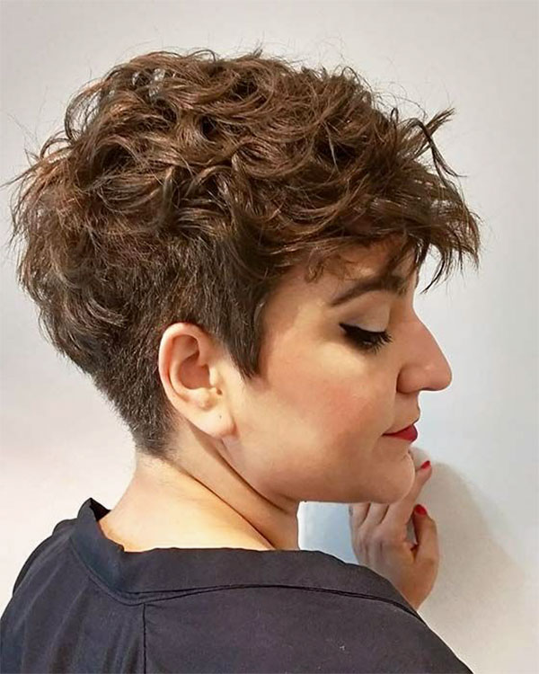 short hair curly on top