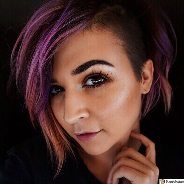 short hairstyles for purple hair